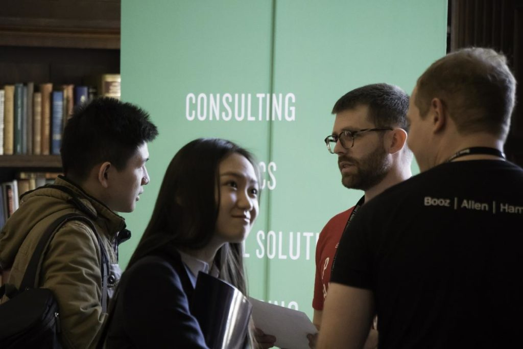 Data Analytics students at a career fair